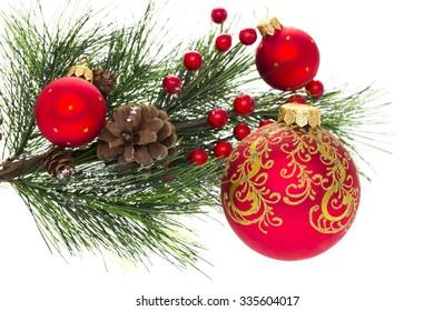 Christmas tree decorations isolated on white background