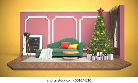 Decorated Room Interior Christmas Tree Presents Stock Vector ...