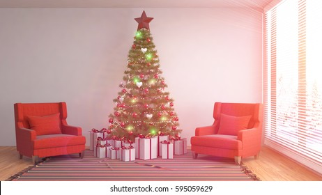 Christmas Room Interior Christmas Tree Decoration Stock Vector (2018 ...