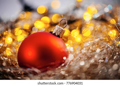 Christmas tree decorations on lights background