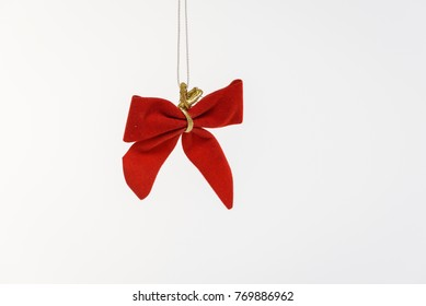 Christmas tree decorations on white background