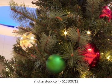christmas tree decorations pine needles lights and balls