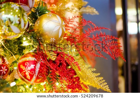christmas tree decorations with red golden and yellow balls red and green leaves - Red And Green Christmas Tree Decorations