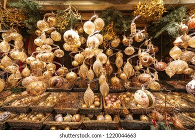 Christmas tree decorations sold in shops in Vienna Christmas Markets