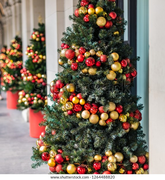 Christmas Tree Decorations Under Arched Hallway Stock Photo Edit Now 1264488820