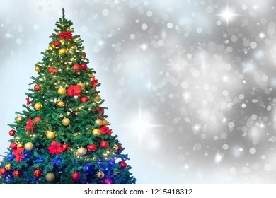 Christmas tree  decorations,white snow background