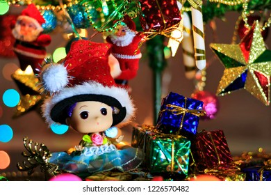Christmas tree with decorative lighting and beautiful accessories.