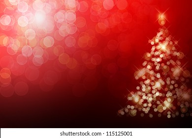 Christmas tree with defocused lights. Red background