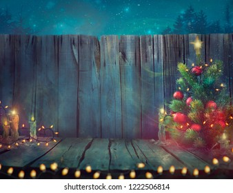 Christmas tree Design. Wooden Planks with Christmas Lights and Tree. Xmas decoration