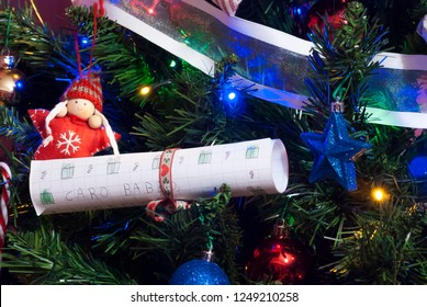 Christmas tree detail with letter to Santa Claus