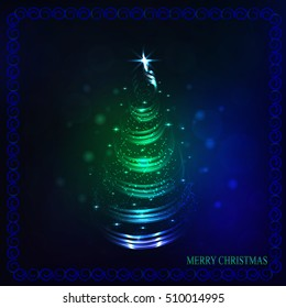 Christmas tree in different colors with lights and stars. Illustration.