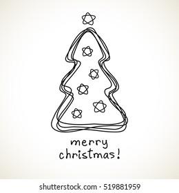 Christmas tree. Doodle hand drawn sign. Greeting, invitation card. Childish illustration for print, web