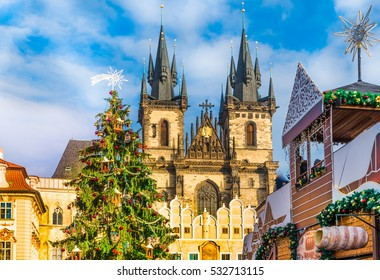 Christmas tree and fairy tale Church of our Lady Tyn in magical Prague, Czech Republic