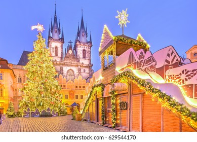 Christmas tree and fairy tale Church of our Lady Tyn in Prague, Czech Republic.