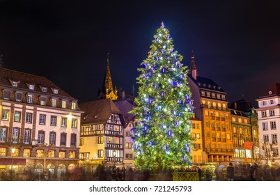 Christmas tree at the famous Christmas Market in Strasbourg - Alsace, France