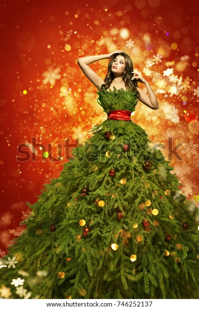 Christmas Tree Fashion Dress, Woman in Art Xmas Gown, New Year Girl in Snowflakes