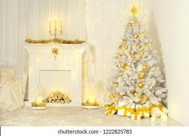 Christmas Tree and Fireplace, Gold Color Decorated Room Interior, Xmas Fireside Light Presents Gifts