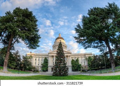 Christmas tree in front of the California State Capitol building in Sacramento. Fisheye lens was used creating a extreme wide angle view of the Capitol.