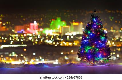 Christmas Tree in front of Reno, Nevada, City Skyline
