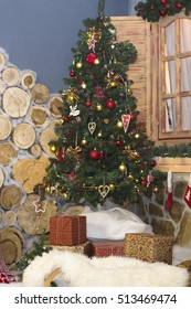 Christmas tree full length and gift boxes. Holiday decorations