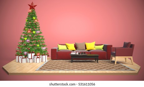Christmas Tree Decorate On Modern Living Stock Illustration ...