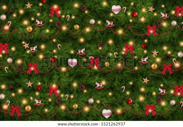 Christmas tree garland decorations, background