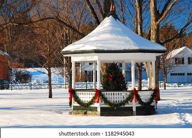 A Christmas tree in a gazebo adorns a village square in Grafton Vermont