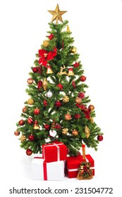 Christmas tree and gift boxes, isolated on white background