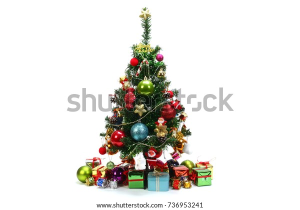 Christmas tree and and gift boxes, isolated on white background.