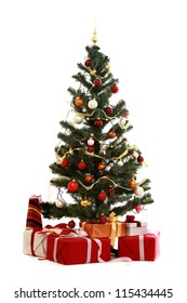Christmas tree with gift, isolated on white background