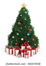 Christmas tree and giftboxes isolated on white background.