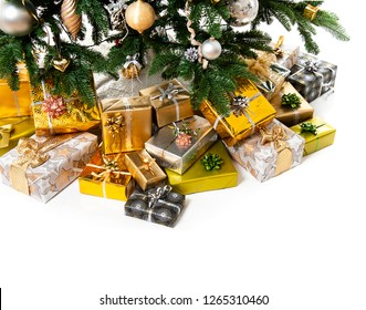 christmas tree with gifts  isolated on white background. gold  silver design