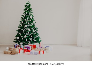 Christmas tree with gifts of the new year decor holiday