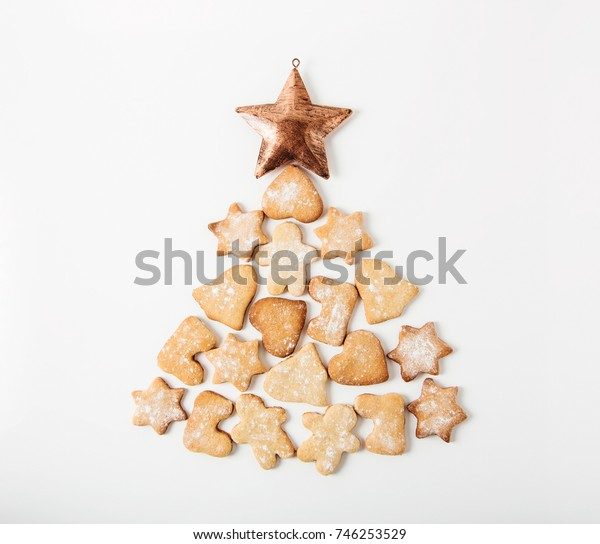 Christmas tree from gingerbread.White background.