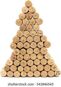 Christmas tree glued of wine corks isolated