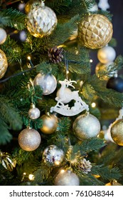 Christmas tree with golden decorations