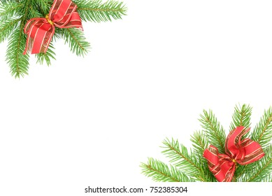 Christmas tree green framework with spruce brunches and red bows  isolated on white background.
