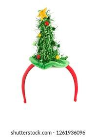 Christmas tree headband isolated on white background.