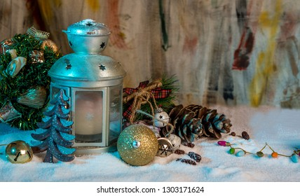 Christmas tree and holidays present on ice background