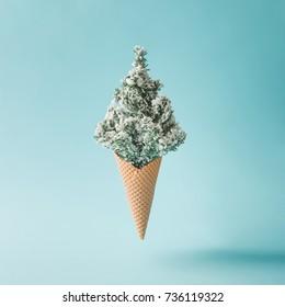 Christmas tree ice cream. Winter holiday concept.