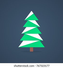 christmas tree icon with snow. concept of christmas tree silhouette, spruce, family event, nativity. christmas tree isolated on dark background. flat style trend modern logo design illustration