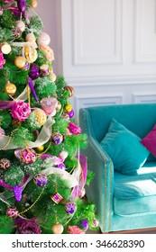 Christmas tree interior background