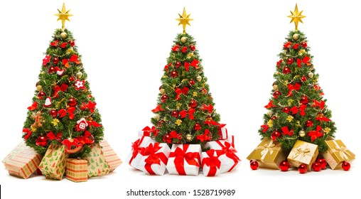 Christmas Tree Isolated over White Background, Set of Decorated Xmas Tree with Present Gift Boxes