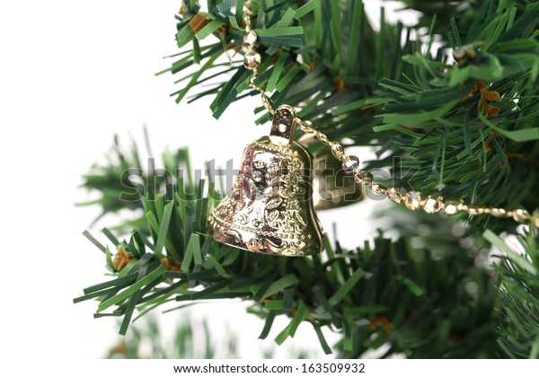 Christmas tree with jingle bells. Whole background.