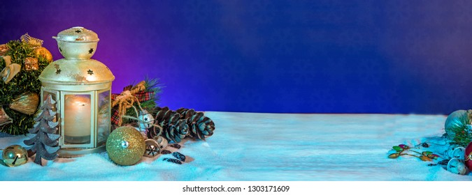 Christmas tree and lamp Banner on ice background holiday theme