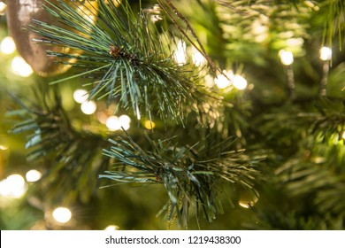 Christmas tree with led light, close up as holiday background