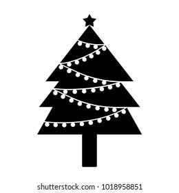 Christmas tree with light bulbs and a star symbol