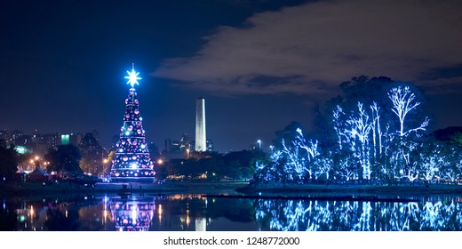 Christmas tree and lighted trees in Ibirapuera Park at night in December in Sao Paulo city,  Brazil.