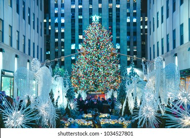 Christmas tree lighting at the Rockefeller's center in New York - December 2017