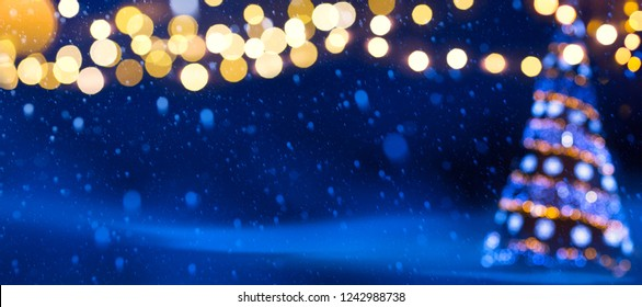 Christmas tree lights; Christmas banner background